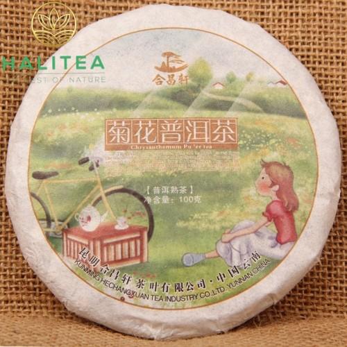 Trà Phổ Nhĩ Hoa Cúc Bánh 100Gr Năm 2013